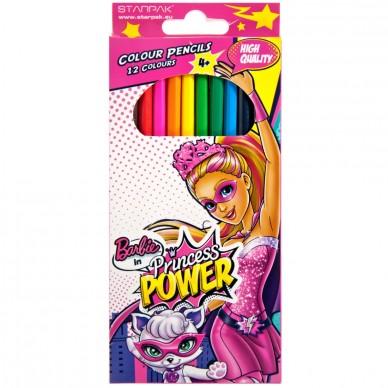 Kredki ołówkowe 12 kolorów Barbie Power Starpak
