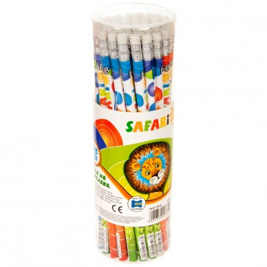 Ołówek z gumką w tubie 48 szt. Safari 48 SAF OZG Starpak
