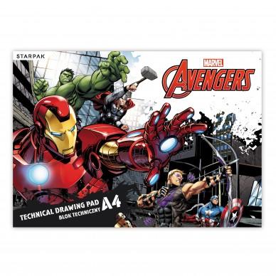 Blok techniczny A4 biały 20 kartek Avengers BT A4 AVG Starpak