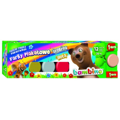 Farby plakatowe 12 kolorów Bambino