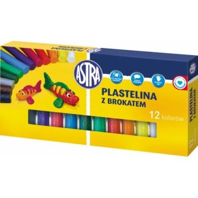 Plastelina z brokatem 12 kolorów Astra 303107001