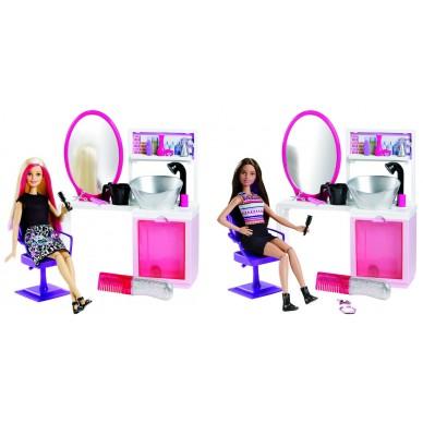 Brokatowy salonik fryzjerski zestaw z lalką Barbie DTK04