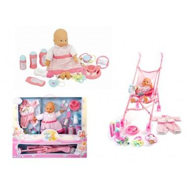 Zestaw: lalka 36 cm + wózek + ubranka + akcesoria 09413 Mega Creative