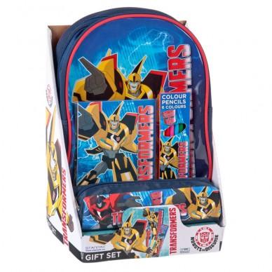 Zestaw prezentowy: plecak, piórnik, kredki i kolorowanka Transformers