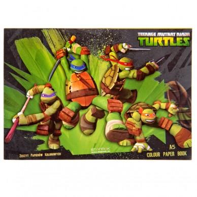 Zeszyt papierów kolorowych Wojownicze Żółwie Ninja Starpak