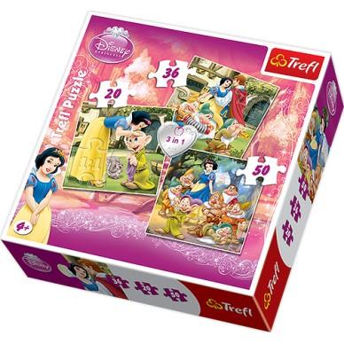 Puzzle 3w1 Królewna Śnieżka 34038 Trefl