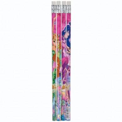 Zestaw 4 ołówków z gumką Winx Starpak